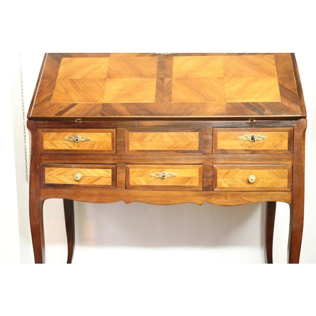 Italian 19th Century Italian Antique Louis XV Style Luxury Chest of Drawers With Secretaire For Sale - Image 3 of 13