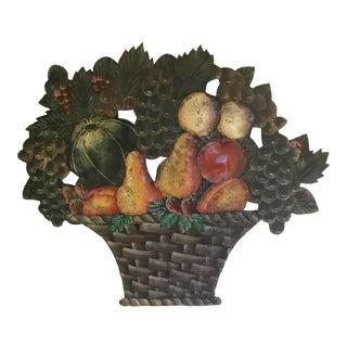 Vintage Tole Basket of Fruit Wall Hanging For Sale