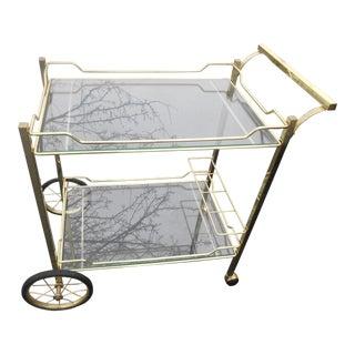 Vintage Hollywood Regency Brass & Glass Tea/Bar Cart Server