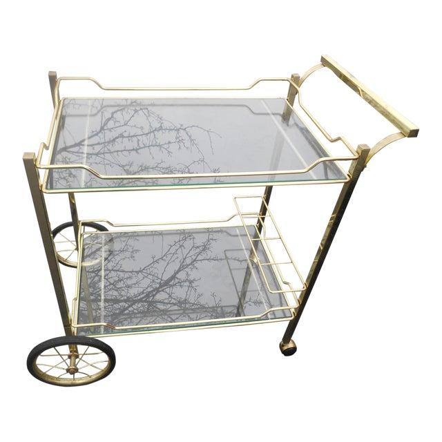 Vintage Hollywood Regency Brass & Glass Tea/Bar Cart Server For Sale