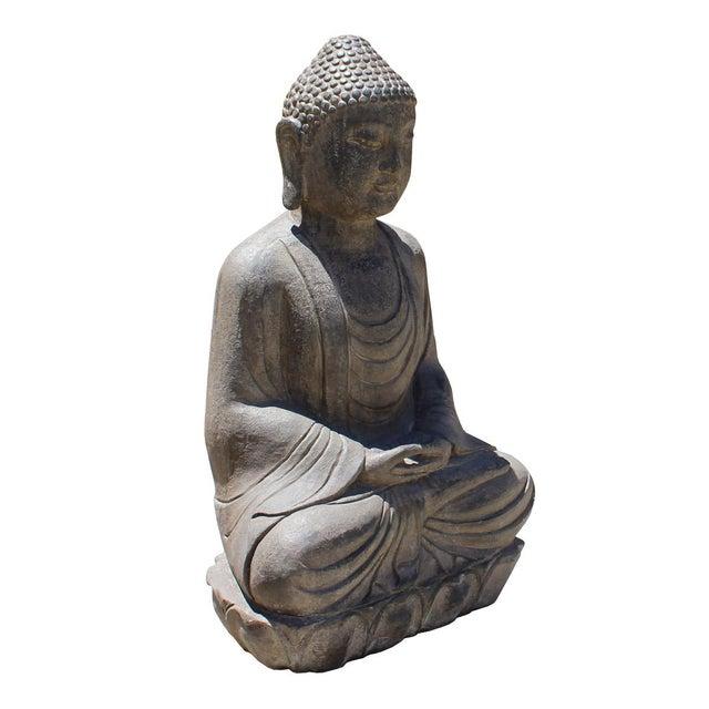 This is a Chinese decorative stone figure of a sitting Buddha, Amitabha , Shakyamuni Gautama Buddha with gray black stone...