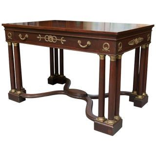 French Empire Style Mahogany Writing Table With Gilt Metal Decoration For Sale