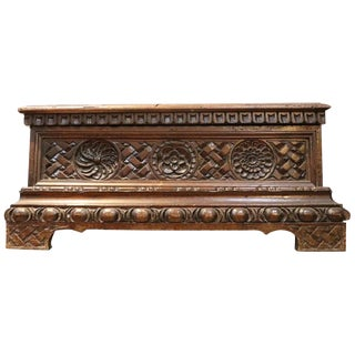 19th Century Italian Renaissance Walnut Carved Miniature Blanket Chest or Coffer For Sale