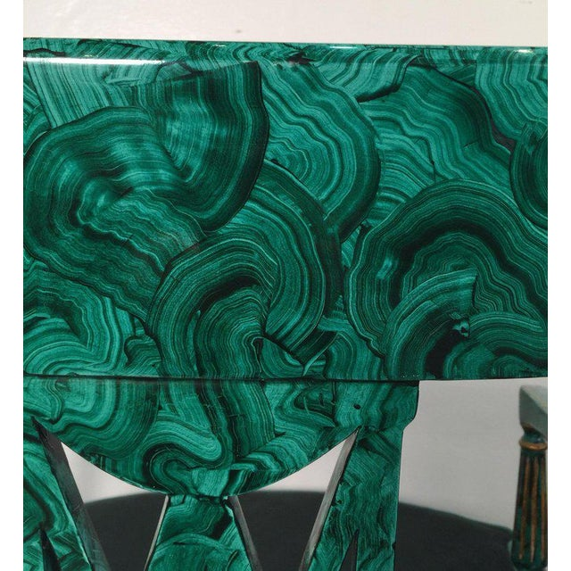 Caning 1980s Vintage Maitland Smith Malachite Painted Finish Armchairs- A Pair For Sale - Image 7 of 13