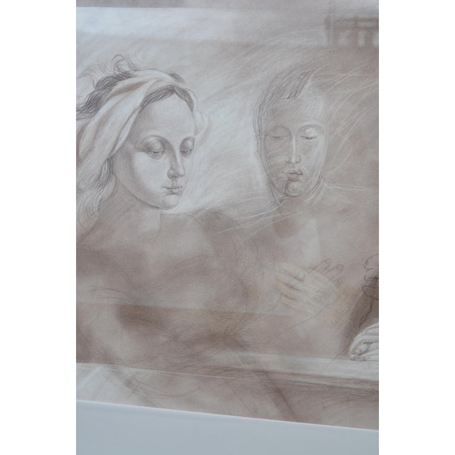 1980s Set of Two Pencil and Charcoal Portraits For Sale - Image 5 of 11