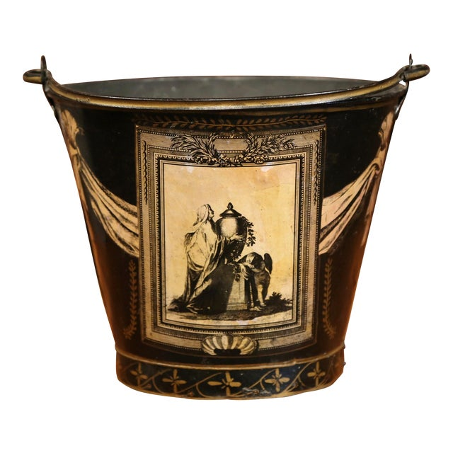 19th Century French Directoire Hand-Painted Black and White Tole Basket Planter For Sale