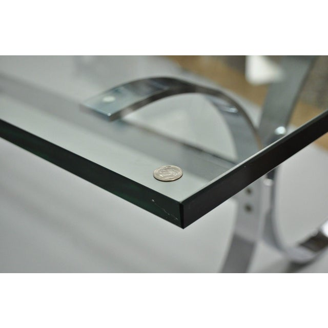 Metal Mid-Century Modern Chrome Butterfly Base Glass Top Coffee Table Baughman Style For Sale - Image 7 of 12
