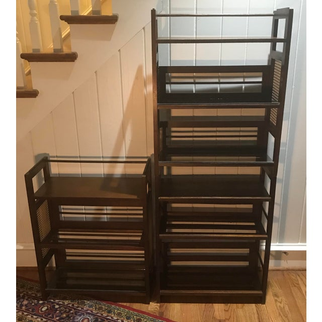3 Tier Cane and Wood Shelving Unit For Sale - Image 12 of 13