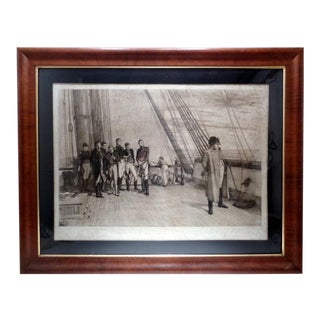 """Antique 19th C British Etching """"Napoleon on Board h.m.s. Bellerophon"""" For Sale"""