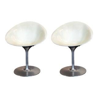 Philippe Starck for Kartell White Eros Swivel Italian Chairs, Set of 2 For Sale