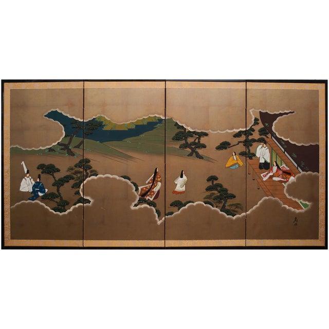 "Shōwa Era ""The Tale of Genji"" Japanese Byobu Screen For Sale"