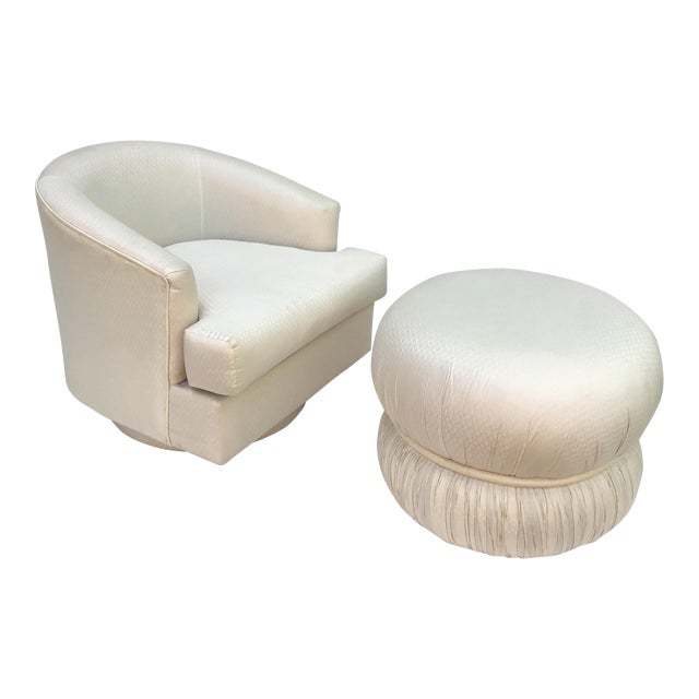 Modern Swivel Club Chair With Matching Pouf Ottoman For Sale