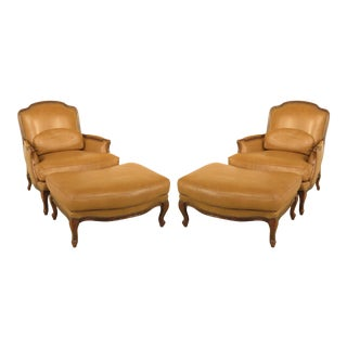 Large French Louis XV Style Leather Bergères with Ottomans - A Pair For Sale