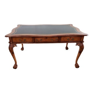 Chippendale Walnut Shaped Top Ball & Claw Leather Top Writing Desk For Sale
