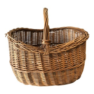 1930s Antique Wicker French Basket For Sale