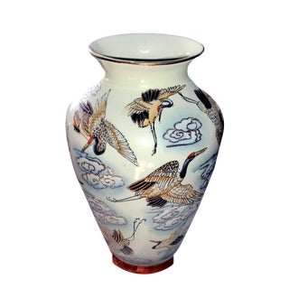 Chinese Famille Rose Polychrome Freehand Raised Cranes & Clouds Motif Porcelain Vase For Sale