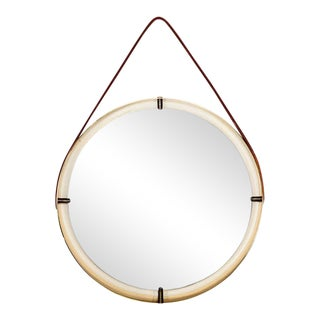 Round Mirror With Leather Strap For Sale