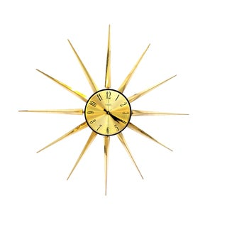 "Huge Mid-Century Modern Gold Starburst Wall Clock || 32"" Space Age Metal Statement Verichron Clock 