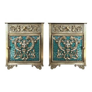 Louis XVI Pair of Bronze Vitrine Nightstands With Green Glass Doors and Drawer For Sale