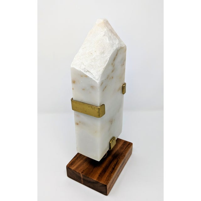White Marble, Brass and Wood Sculpture For Sale - Image 11 of 11