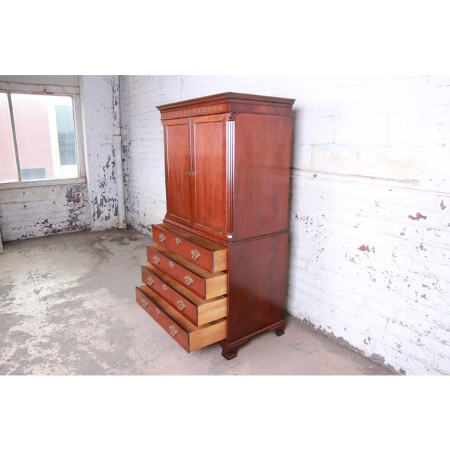 Metal Baker Furniture Chippendale Carved Mahogany Armoire Dresser For Sale - Image 7 of 13