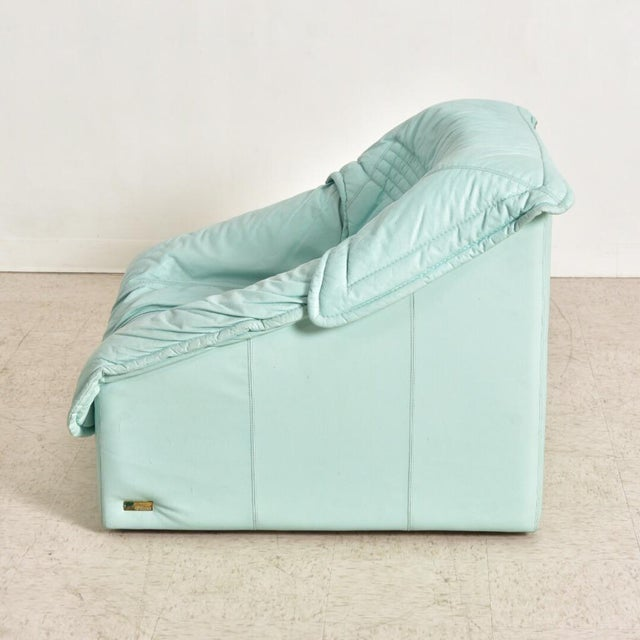 "1980's Vintage Imbottiti Italian Mint Green Leather ""Wilma"" Lounge Chair For Sale In Los Angeles - Image 6 of 10"