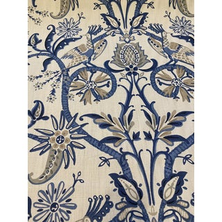 Thibaut Peacock Garden Blue Linen Fabric 9 6/8 Yards For Sale