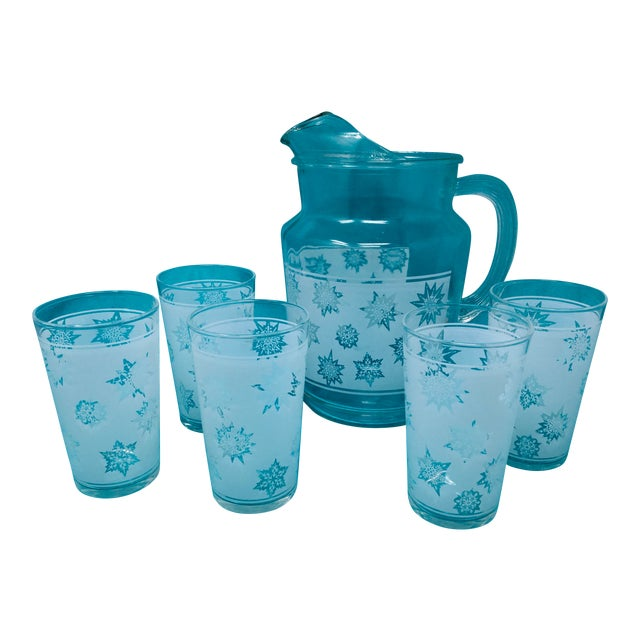 1960s Vintage Snowflake Pitcher & Glasses- Set of 5 For Sale