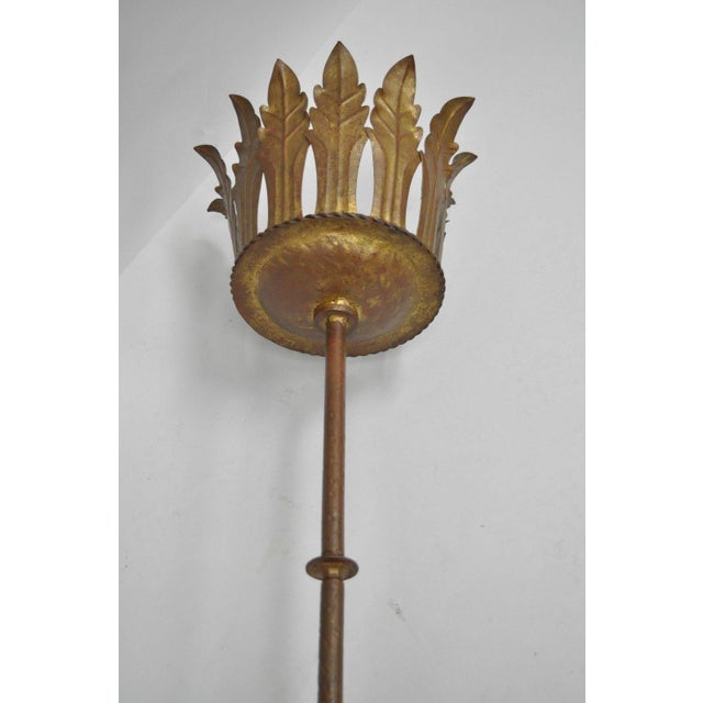 Gold Gilt Iron Gothic Floor Candle Holder Stand For Sale In Philadelphia - Image 6 of 12