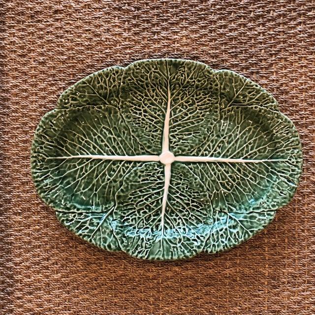 Traditional Oval Cabbage Leaf Platter For Sale - Image 10 of 10