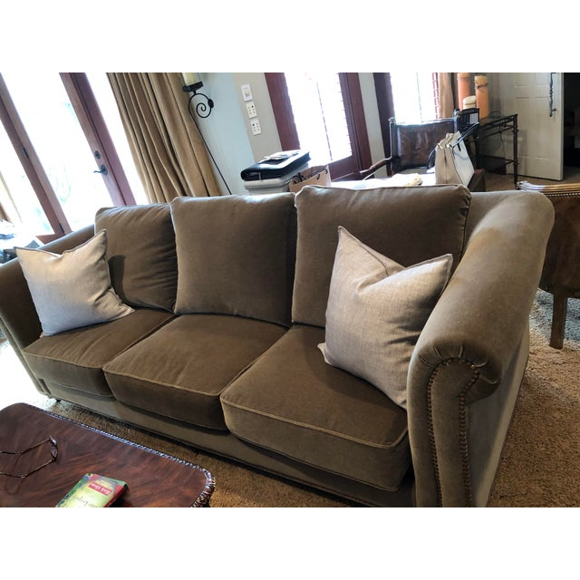 2010s 3 Seat Custom Natural Mohair Sofa For Sale - Image 5 of 11