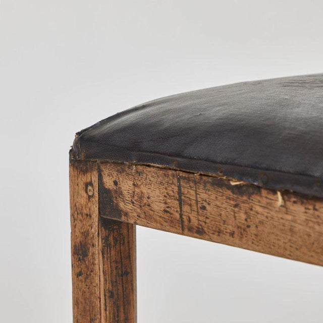 Mid-Century Modern Rustic Low Stool With Black Upholstered Top For Sale - Image 3 of 5