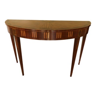 Baker Mixed Wood Inlay Demilune Console Table For Sale