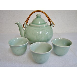 Celadon Teapot and Teacups - Set of 4 Preview