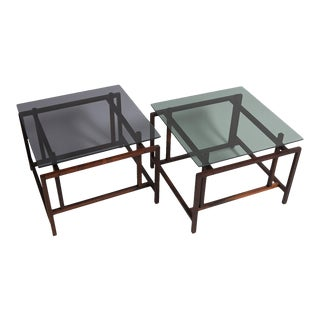 Rosewood Norgaaard Smoked Glass Coffee Tables For Sale