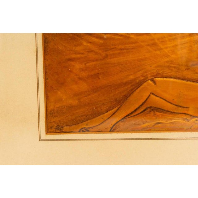 American Art Deco Embossed Copper Plate Bas Relief of a Reclining Nude Female 1930s For Sale In West Palm - Image 6 of 9