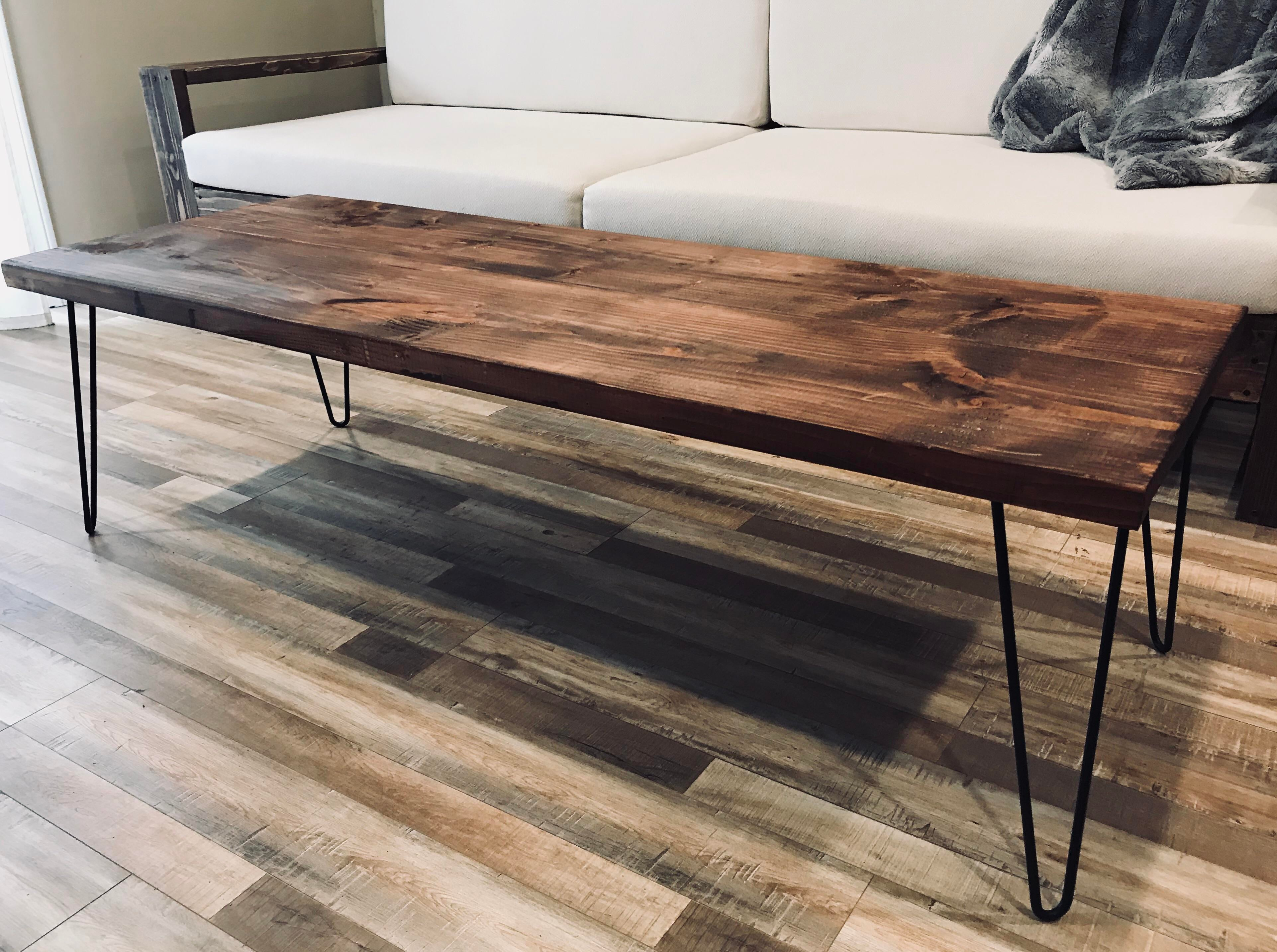 Handcrafted Modern Rustic Coffee Table With Hairpin Legs. Made In The 2010s