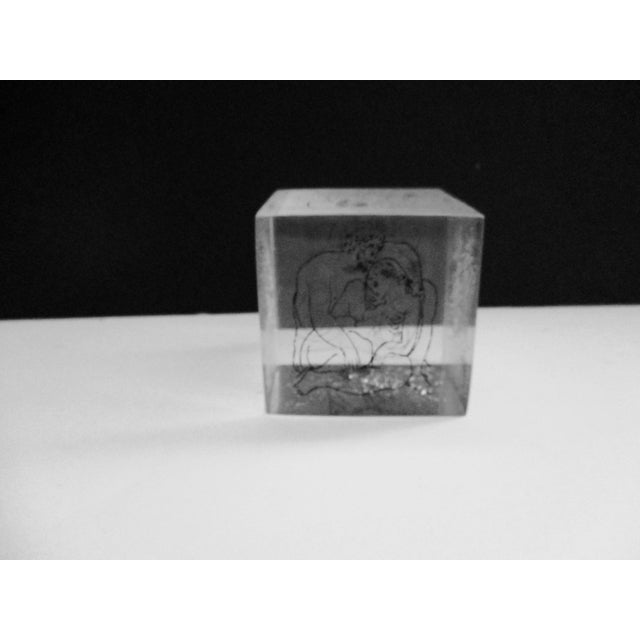 Contemporary Picasso Drawings Lucite Cube Paperweight For Sale - Image 3 of 9
