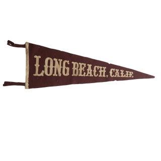 Rare Antique Long Beach, Calif. Felt Flag Pennant For Sale