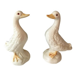 Handmade Painted Mid-Century Ducks - A Pair