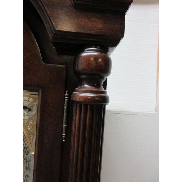 Cherry Flame Mahogany Broken Arch Grand Fathers Clock For Sale - Image 10 of 10
