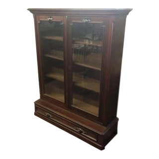 Antique Victorian Walnut 2 Door Bookcase