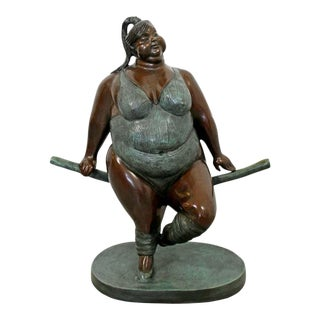 Contemporary Bronze Female Gymnast Figure Table Sculpture by Bruno Luna For Sale
