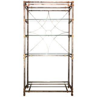 Metal and Glass Shelf Spider Web Backed Étagère Hollywood Regency Style