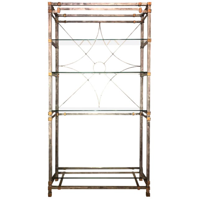 Metal and Glass Shelf Spider Web Backed Étagère Hollywood Regency ...