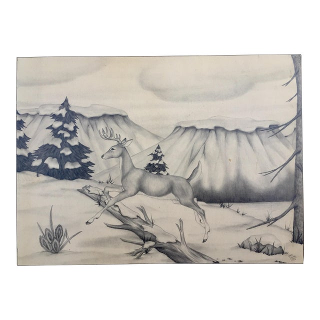 Deer in Winter Mountain Vintage Drawing by M. Keoke - Image 1 of 6