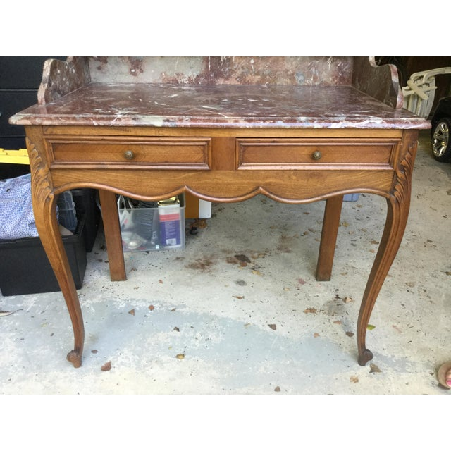 Auburn 1920s French Walnut & Marble Vanity For Sale - Image 8 of 10