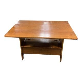 Vintage Rustic Farmhouse Trestle Tilt Top Dining Table For Sale