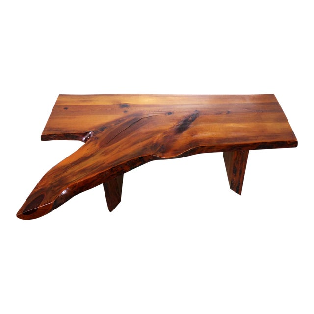Live Edge Solid Slab Coffee Table or Bench in the Style of George Nakashima For Sale
