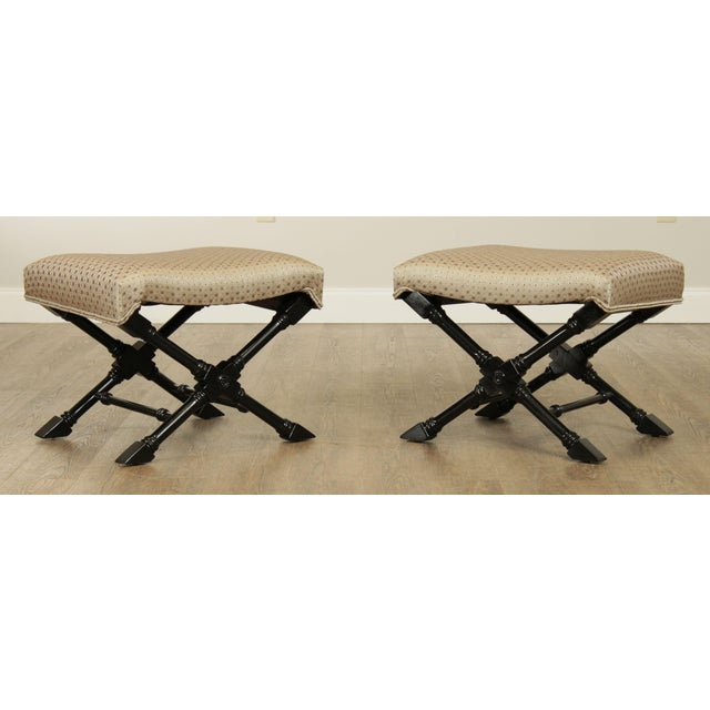 High Quality Custom Upholstered Black Lacquered Solid Wood Base Stools Store Item#: 27493